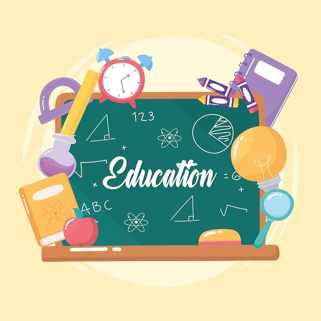 Educación pizarra reloj libro lápiz manzana escuela primaria icono de dibujos animados ilustración