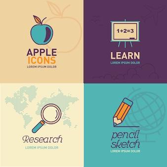 Educación plana iconos