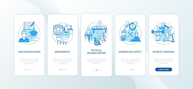 Educación sanitaria azul en la pantalla de la página de la aplicación móvil de embarque con conceptos.