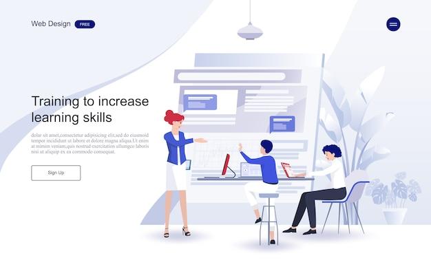 Educación para el sitio web y la plantilla de página de destino. educación en línea, capacitación y cursos, aprendizaje,
