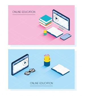 Educación tecnología en línea con computadora de escritorio y teléfono inteligente