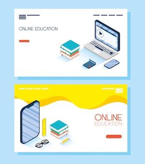 Educación tecnología en línea con computadora portátil y teléfono inteligente