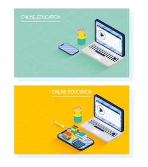 Educación tecnología en línea con computadoras portátiles