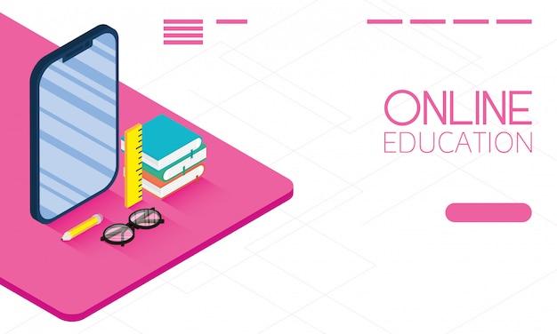 Educación tecnología en línea con teléfono inteligente