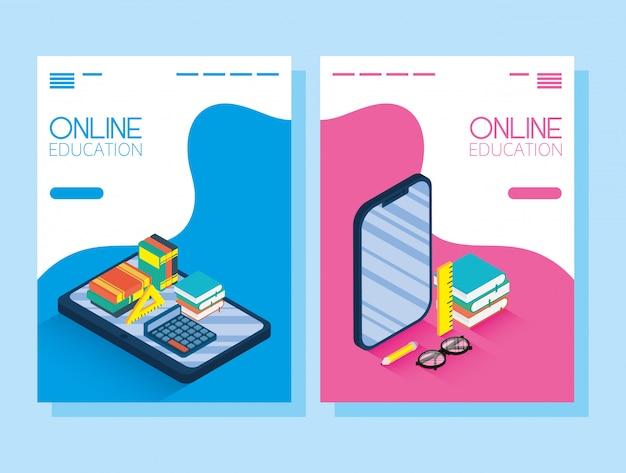 Educación tecnología en línea con teléfonos inteligentes