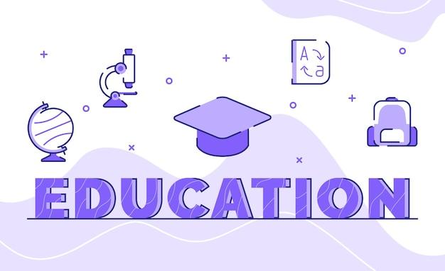 Educación tipografía palabra arte fondo