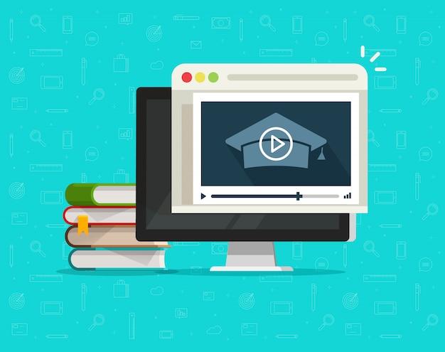 Educación a través de video en línea en computadora o aprendizaje de seminarios web en internet