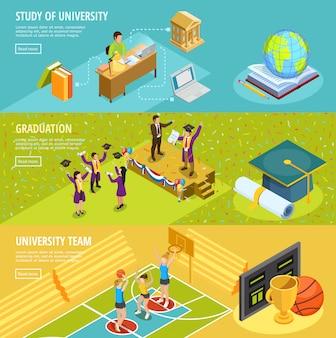 Educación universitaria 3 banners horizontales isométricos