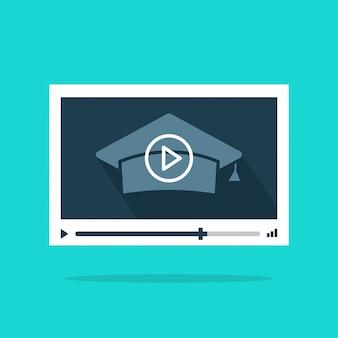 Educación de video en línea o reproductor de video webinar