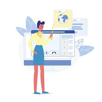 Educativo webinar tutor plano vector personaje