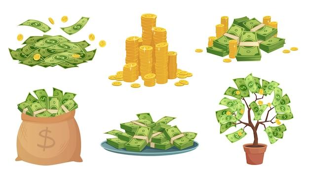 Efectivo de dibujos animados. pila de billetes de dólar verde, monedas de oro ricas y paga.