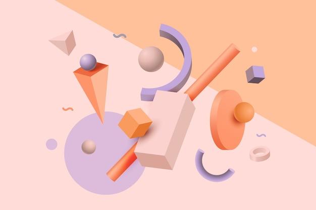 Efecto 3d de formas geométricas abstractas