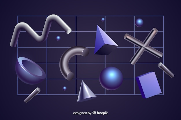 Efecto 3d de formas geométricas antigravedad sobre fondo negro
