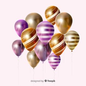 Efecto 3d de globos de rayas de colores brillantes