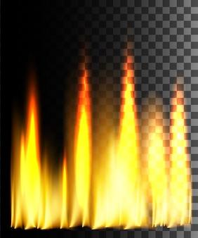 Efecto abstracto de fuego amarillo sobre fondo transparente.