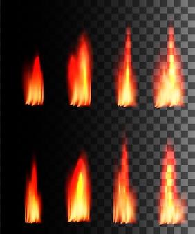 Efecto abstracto de fuego rojo sobre fondo transparente.