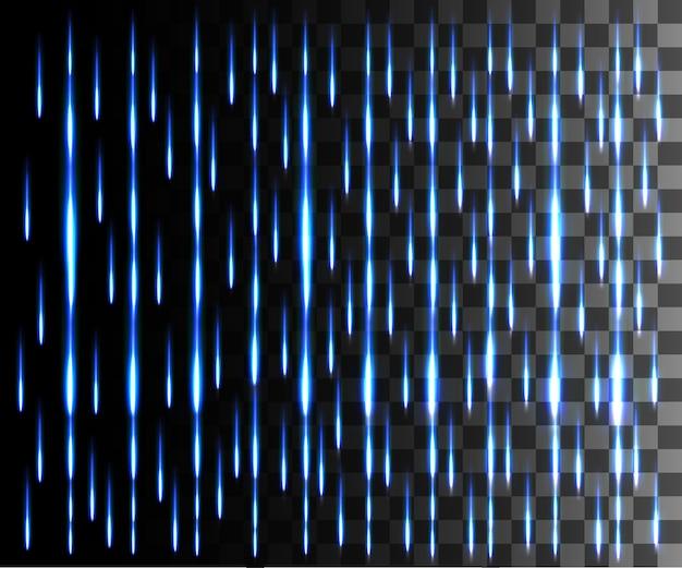 Efecto abstracto de línea brillante. efecto lluvia. efecto de luz de líneas azules sobre fondo transparente.