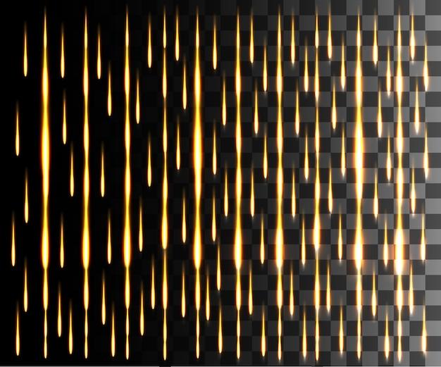 Efecto abstracto de línea brillante. efecto lluvia. efecto de luz de líneas doradas sobre fondo transparente.