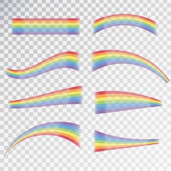 Efecto de arco iris realista en diferentes formas en el fondo transparente.