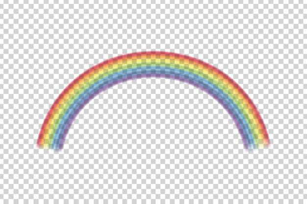 Efecto de arco iris realista sobre el fondo transparente.