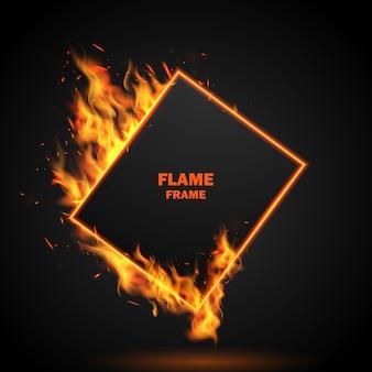 Efecto ardiente al rojo vivo chispas llamas de fuego realistas