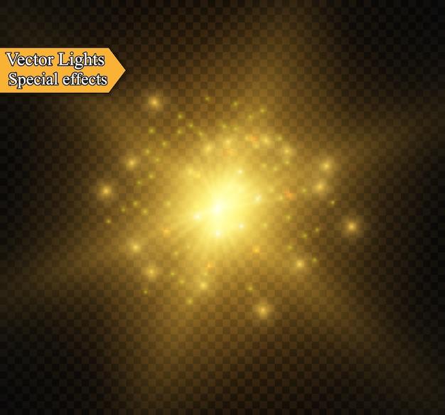 Efecto de bengala dorado abstracto con diseño moderno de chispas blancas