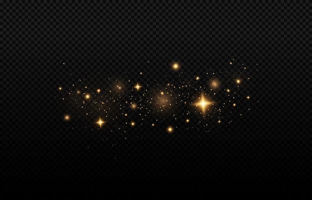 Efecto bokeh amarillo dorado sobre fondo negro partículas mágicas brillantes