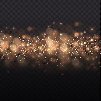 El efecto bokeh de la luz está aislado en un fondo transparente. polvo amarillo chispas amarillas y estrellas doradas brillan con luz especial.