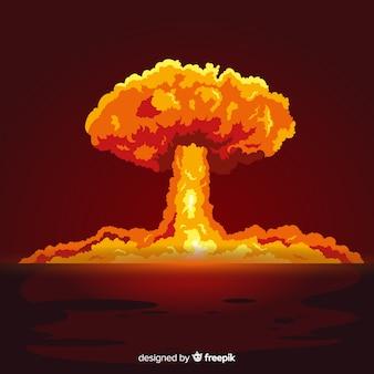 Efecto brillante de explosión nuclear