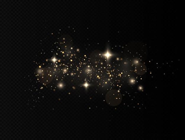 Efecto brillo de partículas. las chispas de polvo y las estrellas doradas brillan con una luz especial
