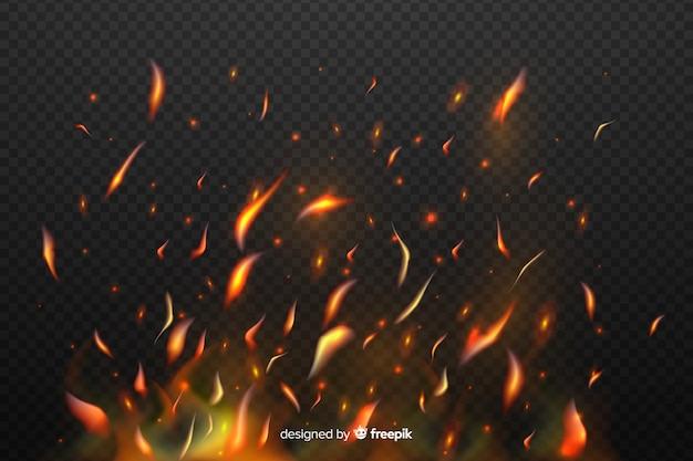 Efecto de chispas de fuego con fondo transparente
