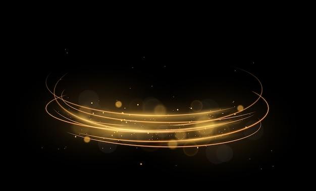 Efecto de círculo de luz transparente abstracto dorado