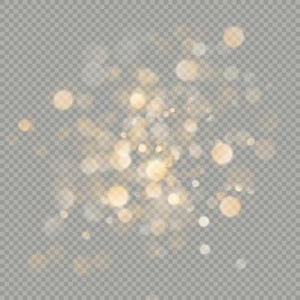 Efecto de círculos bokeh aislado sobre fondo transparente. elemento de brillo naranja cálido cálido de navidad que se puede utilizar.