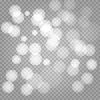 Efecto de los círculos bokeh aislados sobre fondo transparente