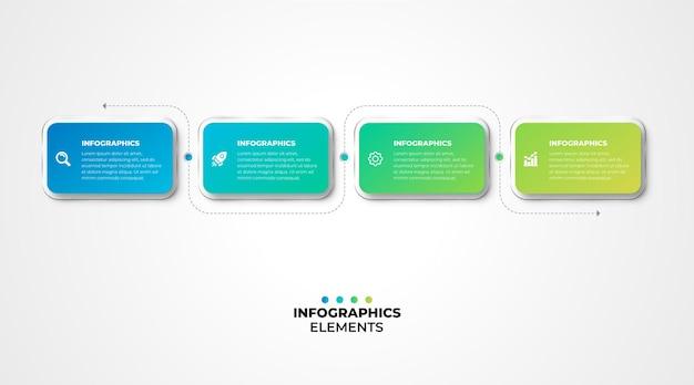 Efecto de cristal de plantilla de infografía de diseño moderno