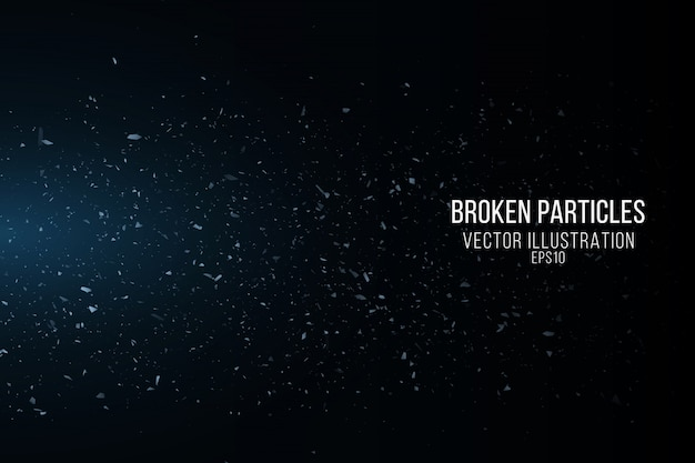 Efecto cristal roto con pequeñas partículas aisladas sobre fondo negro. fragmentos voladores. luces azules. ilustración vectorial