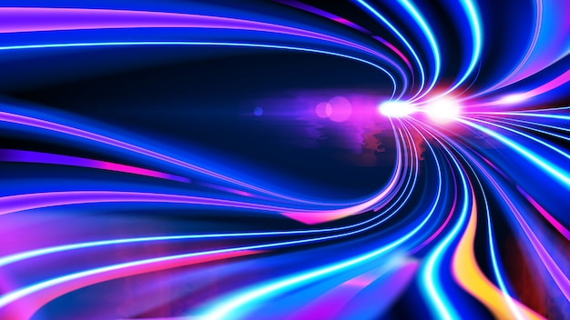 Efecto cyberpunk light trails en vector