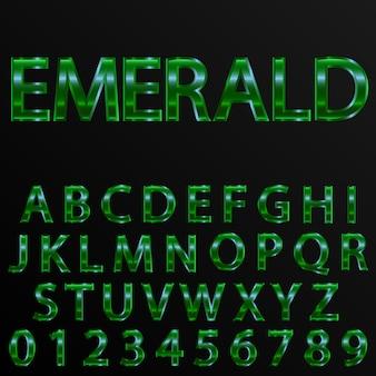 Efecto esmeralda letras y números