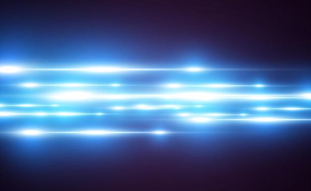 Efecto especial azul claro. rayas brillantes brillantes sobre un fondo transparente.