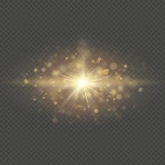 Efecto especial: brillantes partículas solares y chispas. brillo y lentejuelas bokeh luces aisladas sobre fondo transparente.