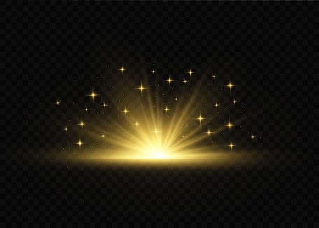 Efecto especial de llamarada de luz con rayos de luz y destellos mágicos. efecto de luz transparente resplandor.
