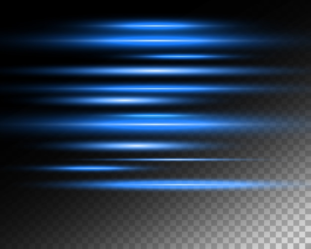 Efecto especial de luz. rayas luminosas sobre fondo transparente.