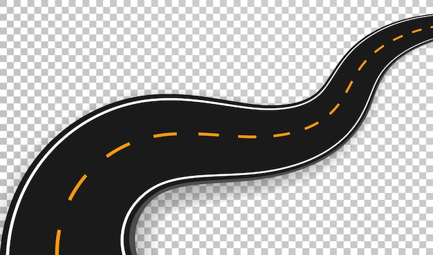 Efecto especial transparente aislado camino sinuoso. plantilla de infografía de ubicación de camino de carretera.