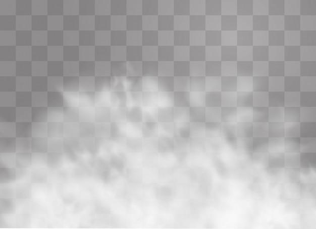 El efecto especial transparente se destaca con niebla o humo. nube blanca, niebla o smog.