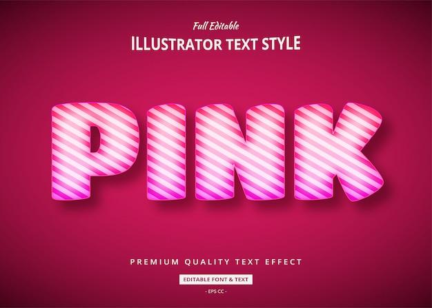 Efecto de estilo de texto 3d de globo rosa