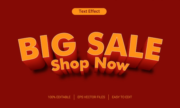 Efecto de estilo de texto 3d de gran venta naranja
