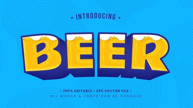 Efecto de estilo de texto 3d juguetón de cerveza. estilo de texto de ilustrador editable.