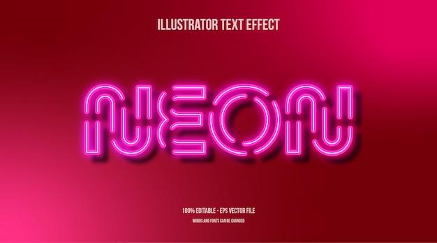 Efecto de estilo de texto 3d de luz de neón