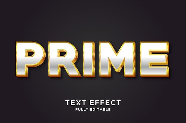 Efecto de estilo de texto 3d de plata y oro de lujo
