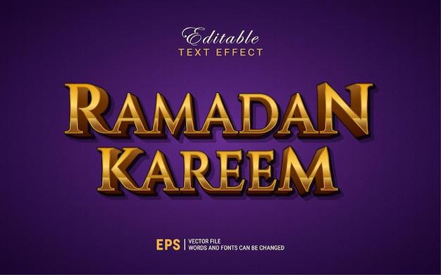 Efecto de estilo de texto 3d de ramadan kareem